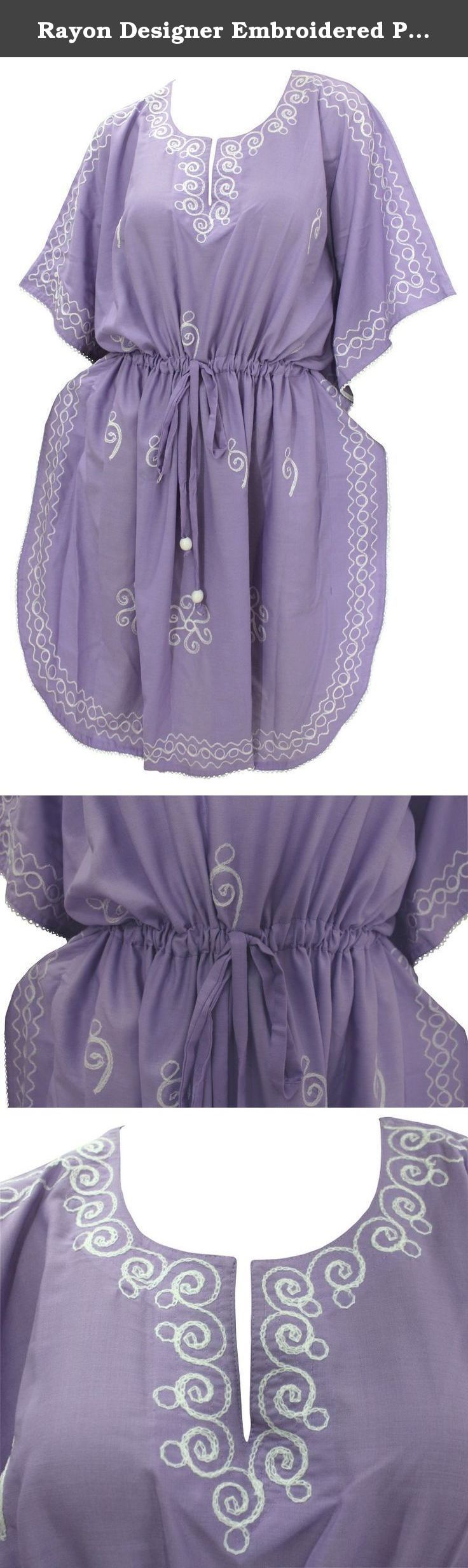 "Rayon Designer Embroidered Plus Size Beach /Nightwear Cover Up Caftan Violet Valentines Day Gifts 2017. Description:- ==> Welcome to LA LEELA ==> Enjoy Beach, Breeze and Nature with La Leela's ""VIBRANT BEACH COLLECTION"" and stay calm and classy! . ==> Fabric : DELICATE DESIGNER EMBROIDERED LIGHTWEIGHT SMOOTH RAYON FABRIC US Size : From Regular 14 (L) TO Plus Size 28W (4X) ➤ UK SIZE : FROM REGULAR 14 (M) TO 30(XXXL) ➤ BUST : 56 Inches [ 142 cms ]➤ Length : 42 Inches [ 106 cms ]…"