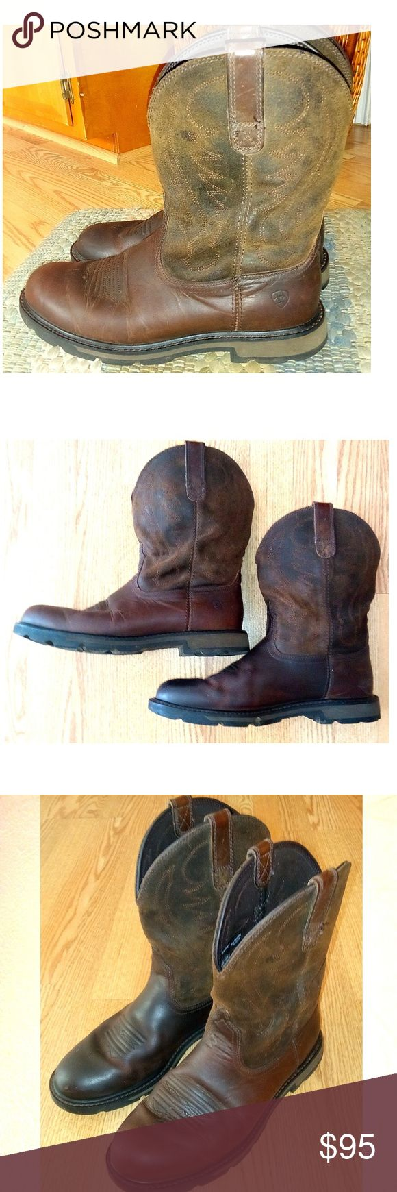 Ariat western cowboy work boots brown  men's 10.5D Sharp in excellent condition ARIAT brown leather western work boots men's size 10.5.  All leather boots with heavy rubber soles these boots were worn only a few times. See the pics of the soles. Ariat Shoes Cowboy & Western Boots