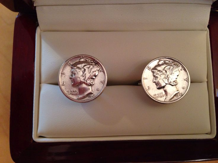 Mercury dime cufflinks - style of dime minted between 1915 and 1945