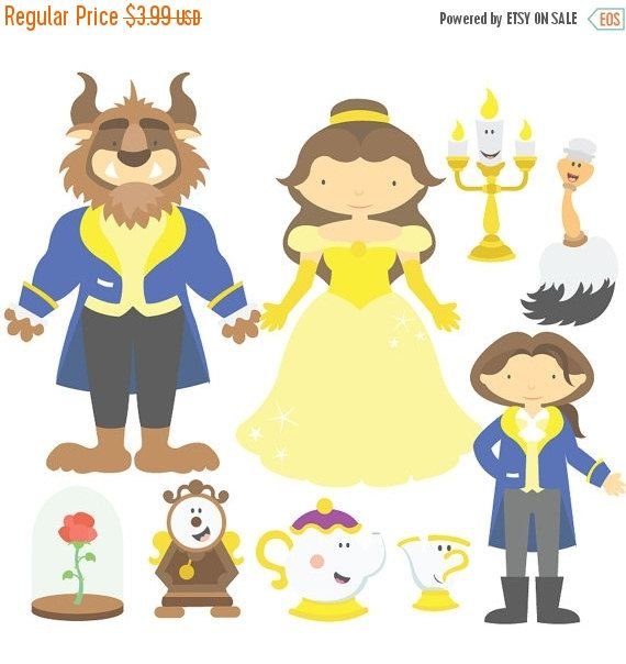 50% OFF SALE Beauty And The Beast Digital Clipart & Vector Set - Instant Download - Personal and Commercial Use
