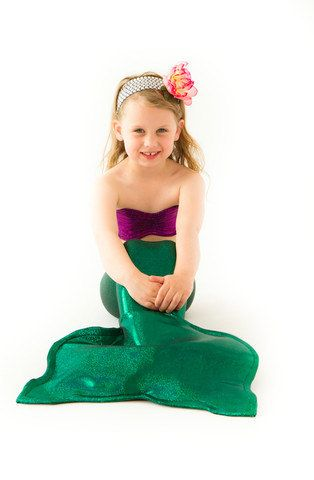 Ariel Inspired Costume Mermaid Tail with Seashell Top for Girls