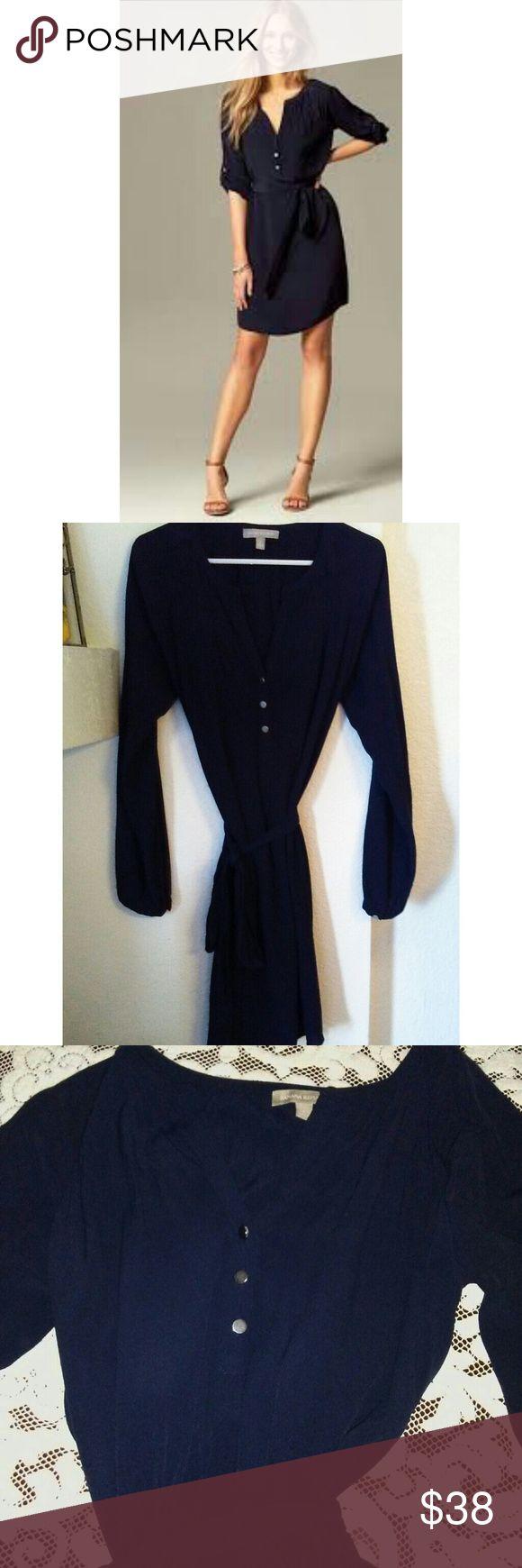 Like New Banana Republic Petite Shirt Dress Like new, Navy Blue convertible sleeve shirt dress.  Includes original matching matching slip. Banana Republic Dresses