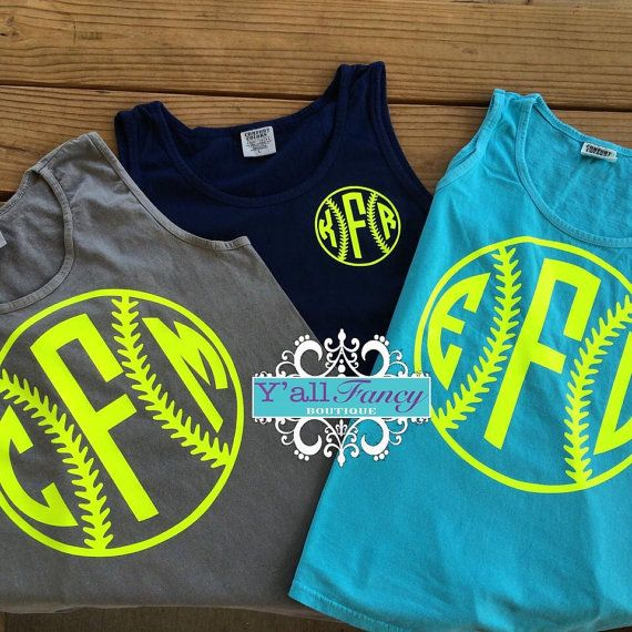Comfort Colors Monogrammed Softball Tank Top by YallFancyBoutique