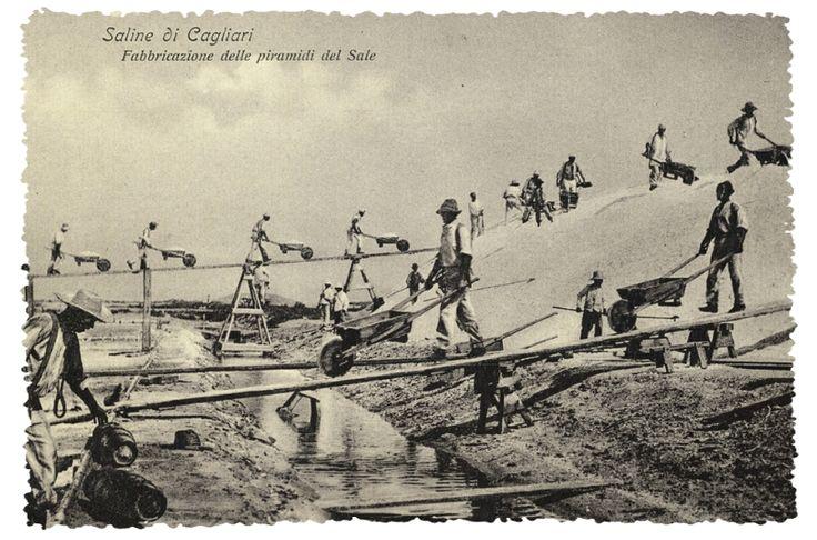 Storia delle Saline in Sardegna, foto storica del 1905 delle Saline di Cagliari.