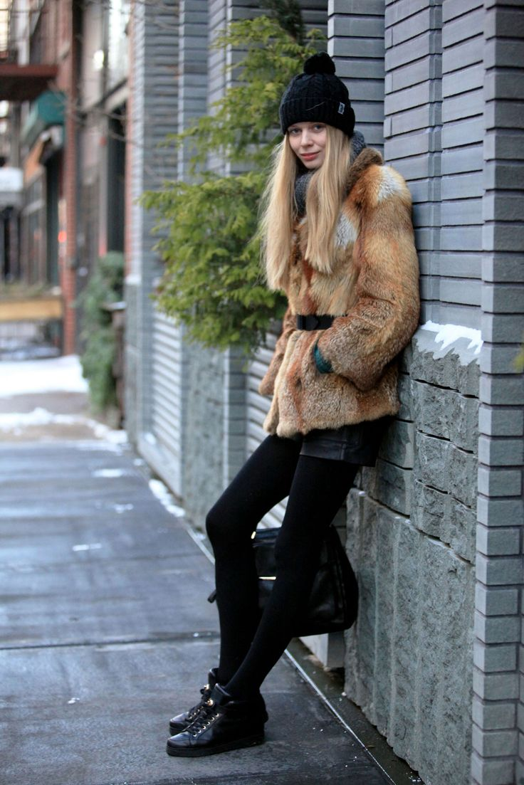 """Name: Violet BorakSpotted In: NohoWhat She's Wearing: Armani Exchange shorts, a fur coat purchased in Paris, Coach shoes, and a handmade scarf.What is your number one styling tip or trick for surviving the winter in New York City? """"Having positive energy."""""""