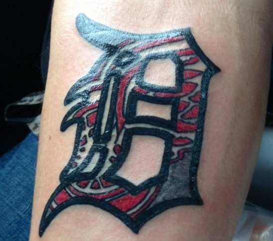 Detroit Tattoo, with Red wings in the D