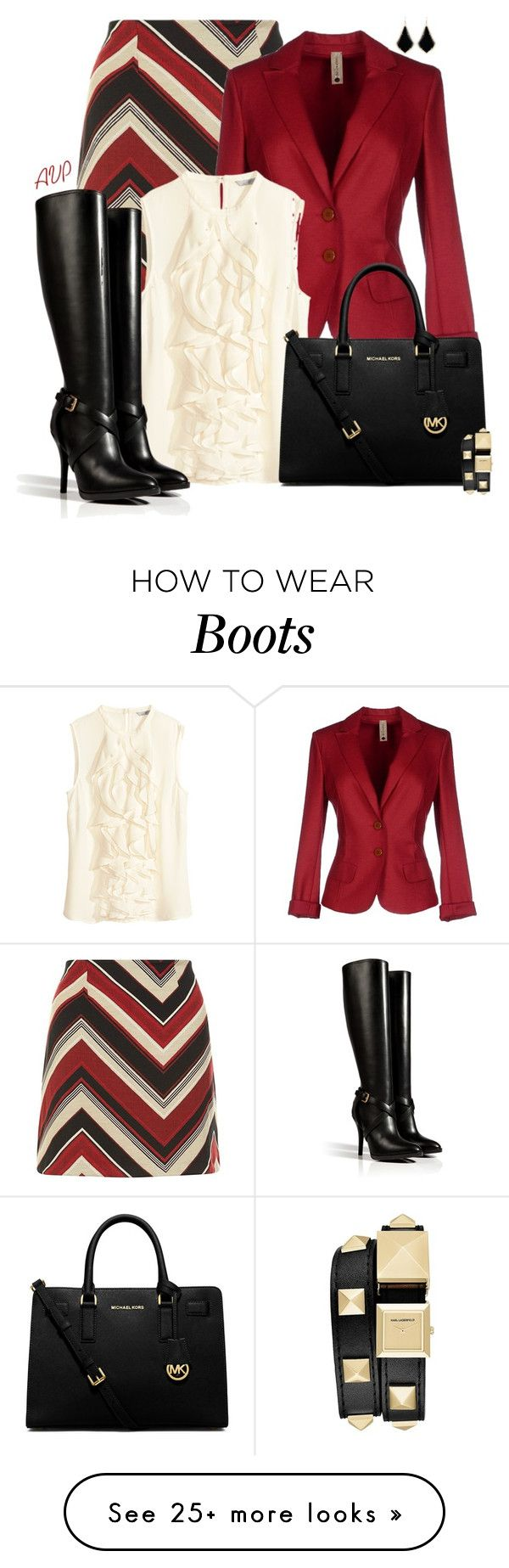 """""""Boots and an A-Line"""" by amy-phelps on Polyvore featuring Kendra Scott, Pianurastudio, H&M, MICHAEL Michael Kors, Karl Lagerfeld and Ralph Lauren Collection"""