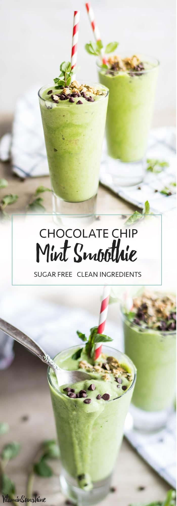 A Pinterest Image featuring two glasses of the healthy chocolate chip mint smoothie.
