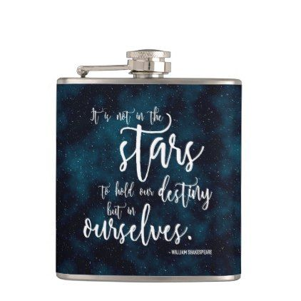 Night Sky Shakespeare Quote Hip Flask - calligraphy gifts custom personalize diy create your own