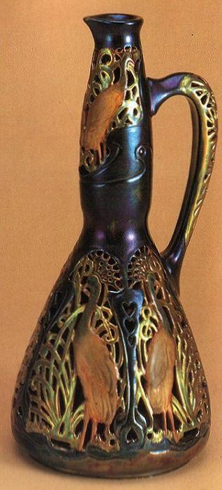 Hungarian - Zsolnay eosin glazed porcelain peacock