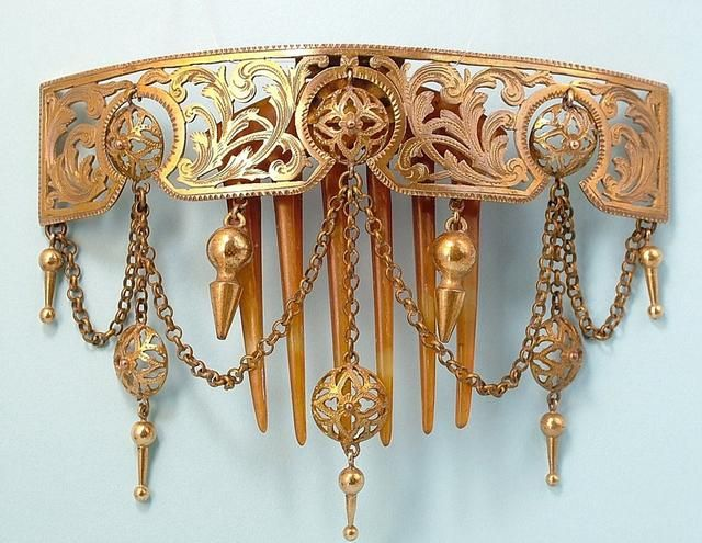 Mid Victorian Neo-Classical Algerian Carved Horn And Gilt Metal Hinged Hair Comb With Dangles, Pierced And Engraved With Leaves