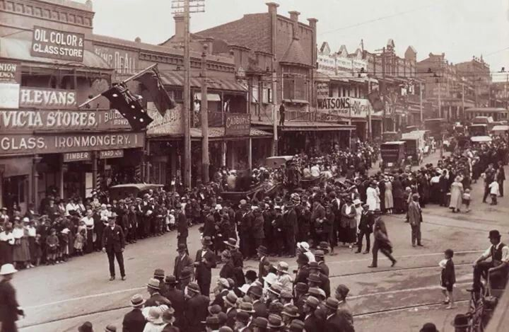 Parramatta Rd at Norton St intersection at Leichhardt,Sydney in 1921.A♥W