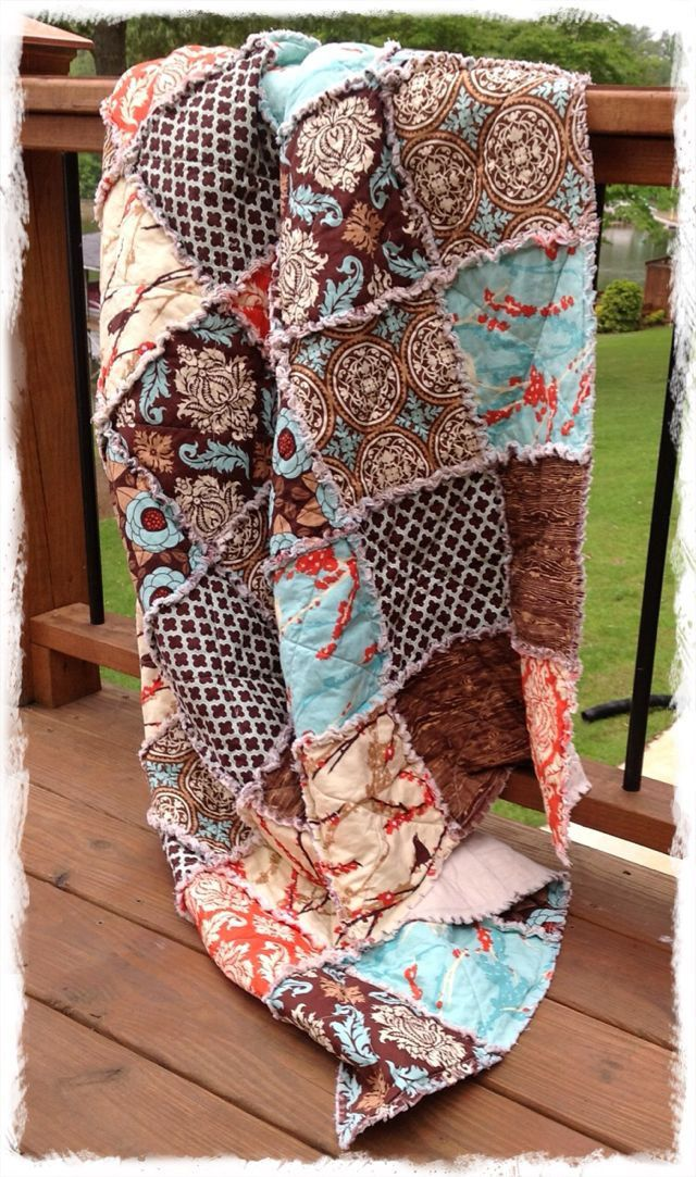 Rag Quilt King Queen Full Twin Xl Throw Size Aviary 2