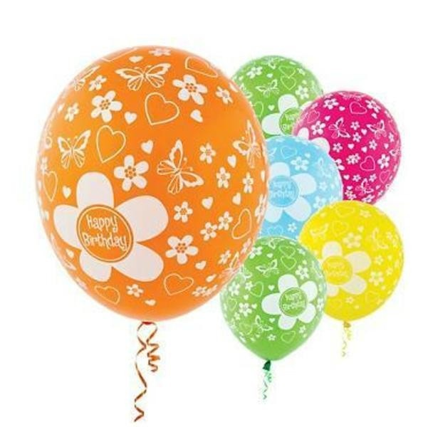 Designer Balloons Happy Birthday Flower Bright Colors Latex Balloons | 20ct | Pinterest | Flower balloons  sc 1 st  Pinterest : paw print paper plates - pezcame.com