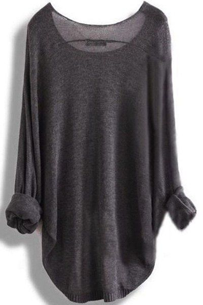 Chic Scoop Neck Asymmetrical Long Sleeve Sweater For Women