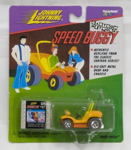 """Johnny Lightning - Cartoon Network - Speed Buggy (1998) w/original filmstrip animation cel art by Playing Mantis. $34.95. Includes original filmstrip animation cel art. Johnny Lightning, 1/64 Scale, Speed Buggy/Scooby Doo. Authentic replica from the classis 'Speed Buggy' cartoon series. Speed Buggy is orange color. Die-cast metal body and chassis. For other similar """"Cartoon Network"""" miniature vehicles see these ASINs: B0029EKVWW - The Flinstones Barney Rubble's Sports..."""