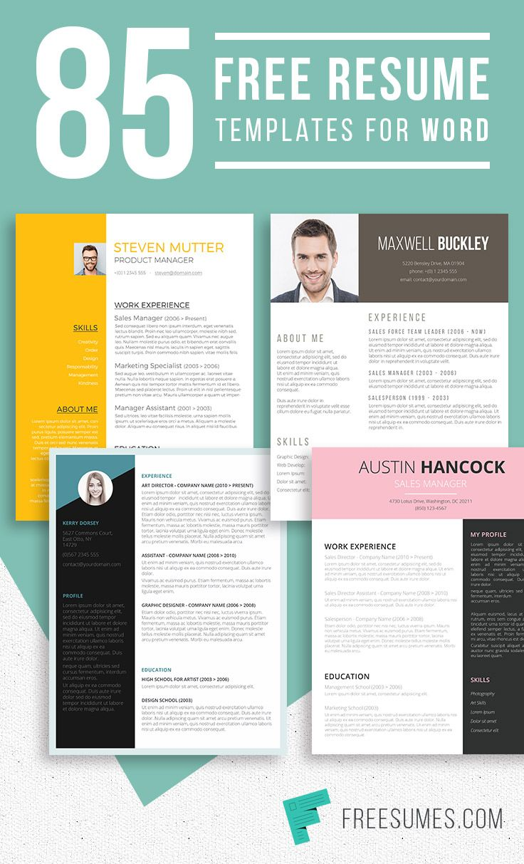 85 Free Resume Templates For Microsoft Word - Freesumes.com #free #resume #templates #cv #collection #freebie #giveaway #gratis #gratuit #recruitment #career #interview #jobsearch