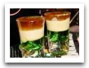 Irish Flag Shot-  3/4 oz. green creme de menthe  3/4 oz. Irish cream  3/4 oz. brandy  Instructions: In the order given, pour each layer over the back of a spoon into glass. Pour very gently to retain layers.