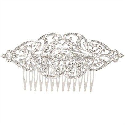 Vintage Swarovski Hair CombOzsaleJ766-silver