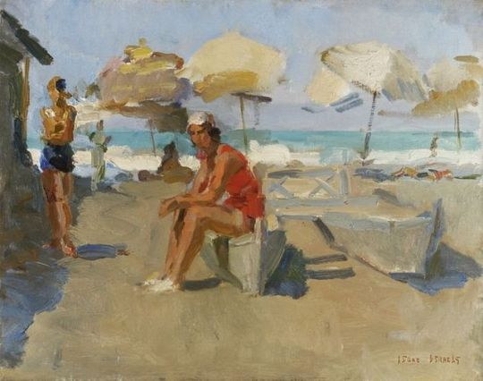 On the Beach with Parasols and Catamaran  , Lido   -   Isaac Israels , 1927    Dutch, 1865-1934    Oil on canvas, 54 x 37 cm