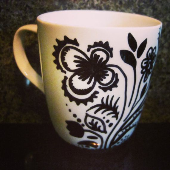 Flower and Leaves Sharpie Mug by MagicMushroomPatch on Etsy, $7.00  #flower #sharpie #diy