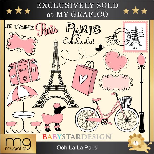 OohLaLa Paris - set includes 16 graphics for card designs, craft projects, paper products, stationery, scrapbooking and more.