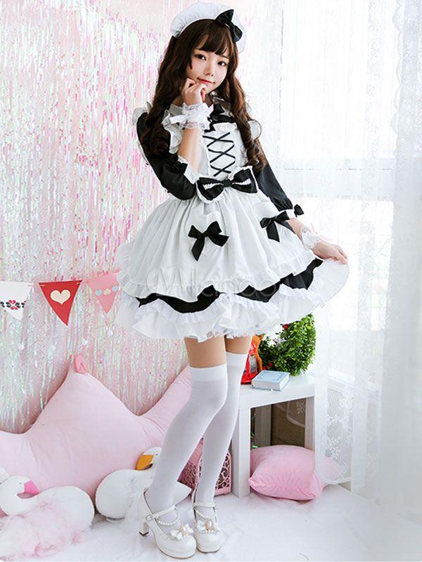 d644319d0c9 Maid Lolita OP Dress Bow Lace Up Ruffle Lolita One Piece Dress di ...