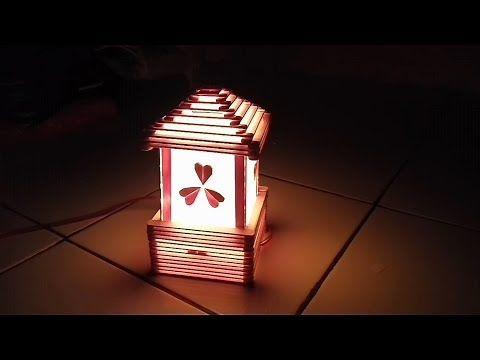 Diy Cara Membuat Lampu Tidur Dari Stik Es Krim Youtube Kerajinan Gagang Es Krim Lampu Tidur Lampu