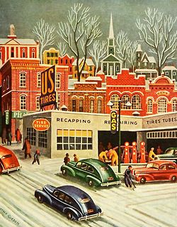 Mid-century modern - Christmas - village - town - old cars - vintage - gas station