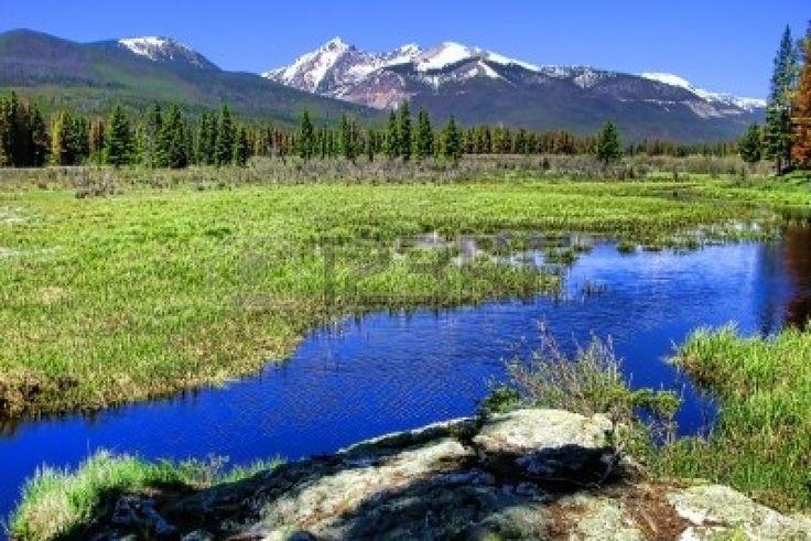 Le Parc National des montagnes Rocheuses paysage avec la rivière et du pré Colorado