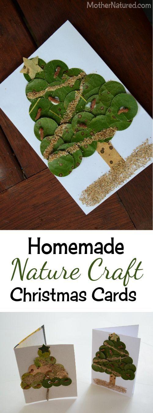 Beautiful homemade Nature Craft Christmas Cards #DIY