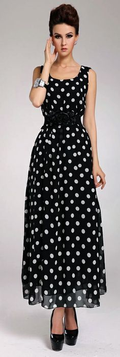 Fashion O Neck Polka Dots Sleeveless Chiffon Ankle Length Dress - Black
