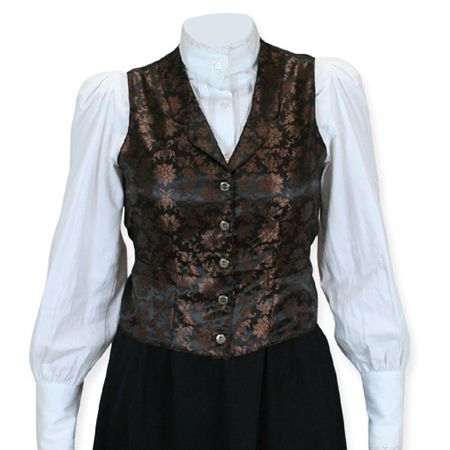 Vintage Ladies Brown Floral Notch Collar Dress Vest | Romantic | Old Fashioned | Traditional | Classic || Lilibeth Ladies Vest - Copper