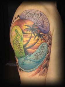 Ocean rose tattoos   Sunset Palm Tree Ocean Mountains Tattoo By Cory Norris Of On Pinterest