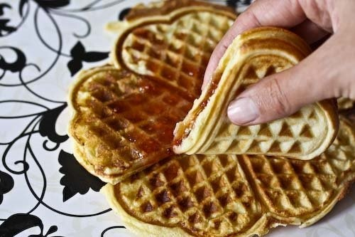 Heart shaped Norwegian Waffles, a regular at our house.