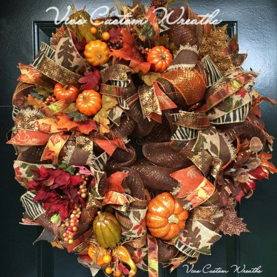 Thanksgiving Wreath, Fall Wreath, Fall Front Door Wreath, Fall Deco Mesh Wreath, Front Door Wreath Fall, Harvest Wreath, Fall Door Decorations, Fall Decor, Fall Floral Wreath  This Fall Color Wreath is full and lush. The wreath has a very luxurious look that sets it apart from other style Wreaths. Its rich sophisticated one of a kind look will have your neighbors and friends wishing they had one on their door.  It is constructed using a high quality brown/bronze Deco Mesh. Then it is fu...