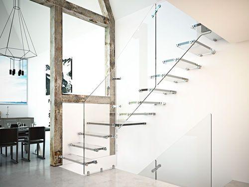Halbgewendelte-Treppe / Glasstufen / offen / fur Innenbereich AIRA GLASS RINTAL