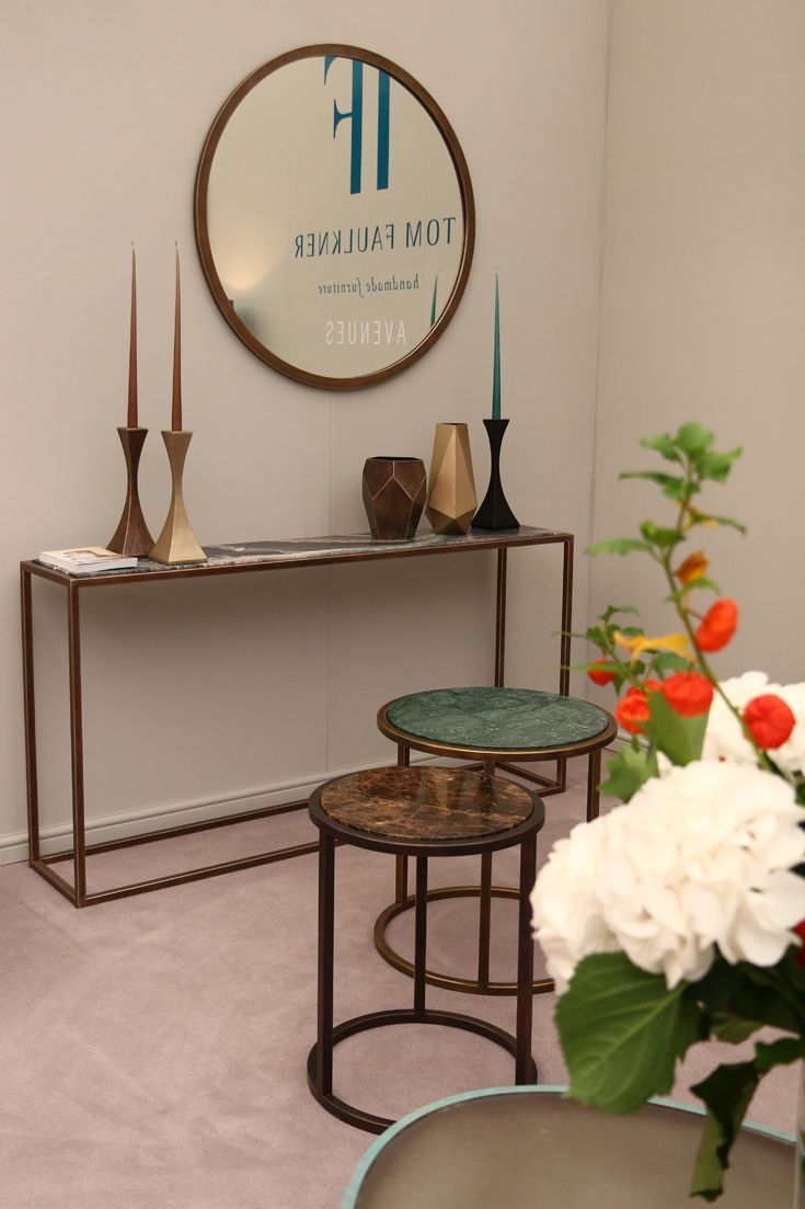 Avenues collection at #decorex 2015 featuring #metal #console_tables, #side_tables & #coffee_tables with #marble and #glass tops.