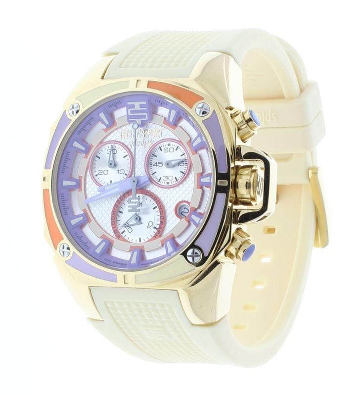 Technosport Multicolor Chronograph Dial Gold Women's Watch Beige Strap TS-100-Splash5