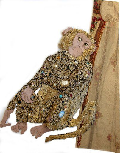Karen Nicol, All Dressed Up With Nowhere to Go, 2013 Tamarin dressed in jewels and gold fabric.