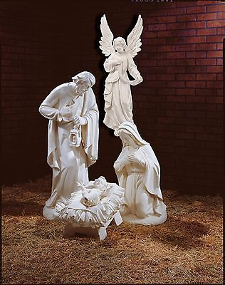 White Polyresin / Outdoor Nativity Set 3 piece tallest 32 in. Holy Family