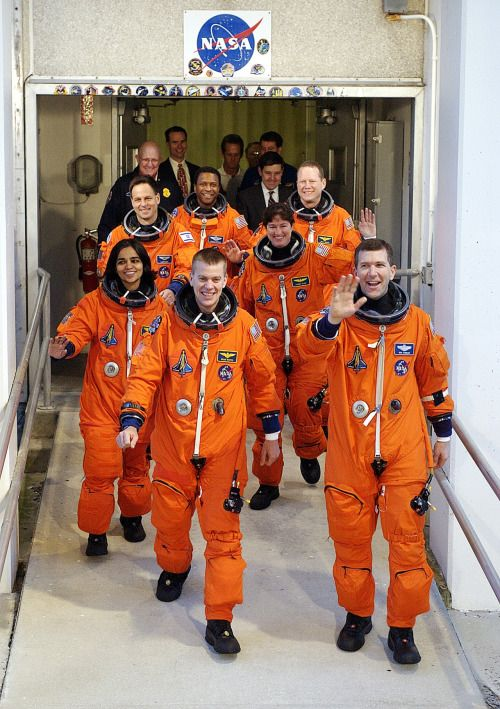 Remembering the crew of the Space Shuttle Columbia mission STS-107, killed on February 1, 2003 when the orbiter disintegrated as it reentered the Earth's atmosphere: Ilan Ramon, payload specialist; William C. McCool, pilot; David M. Brown, mission specialist; Kalpana Chawla, mission specialist; Michael P. Anderson, payload commander; Laurel B. Clark, mission specialist; and Rick D. Husband, mission commander.