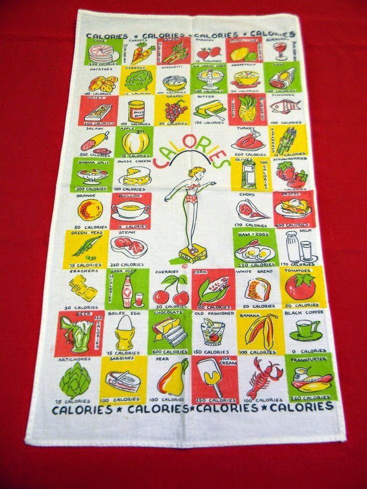 Vintage kitchen linens ... tea towels with calorie counts.