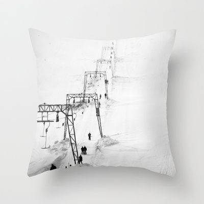 Fading skilift in Folgefonna Throw Pillow by Håkon Jørgensen - $20.00