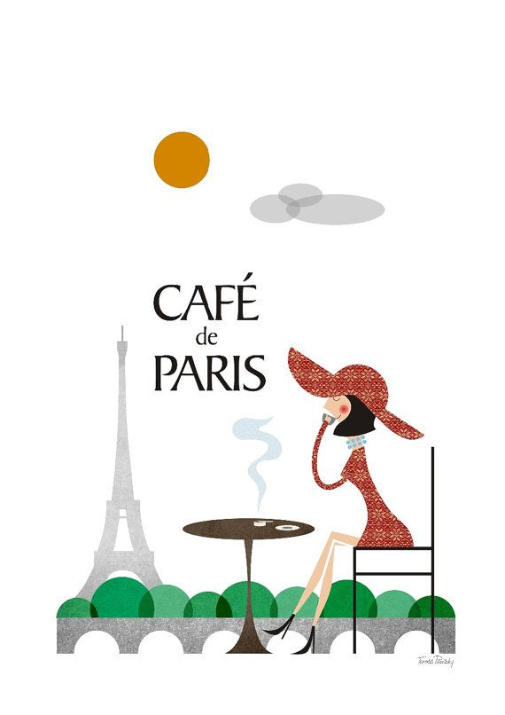 Coffee Paris, City poster, Poster Eiffel Tower, Retro poster Paris, city Paris print, Size A3