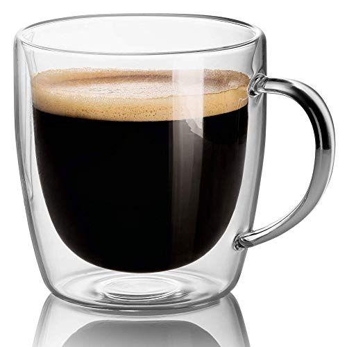 Set Of 2 Mugs 14 Oz Large Coffee Mug Double Wall Glass Clear