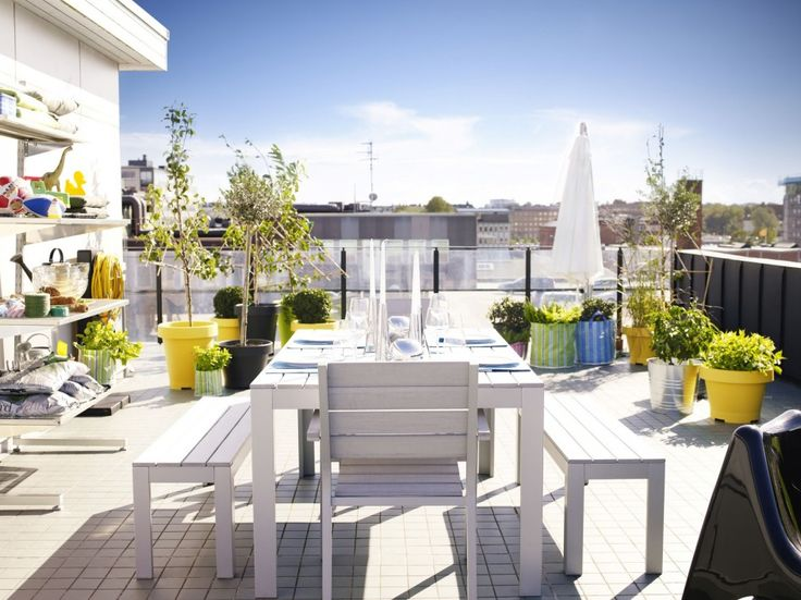 Exterior, Well Liked White Wooden Long Breakfast Table And Benches From  Ikea Outdoor Furniture As