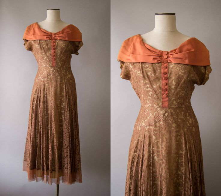 vintage 1950s dress / 50s brown lace dress / small by HungryHeartVintage on Etsy https://www.etsy.com/listing/504918059/vintage-1950s-dress-50s-brown-lace-dress