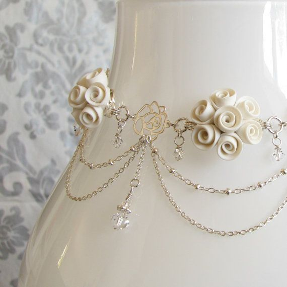 Polymer clay white roses with sterling silver bridal choker necklace, Etsy listing at https://www.etsy.com/listing/96778380/clearance-white-roses-bridal-choker