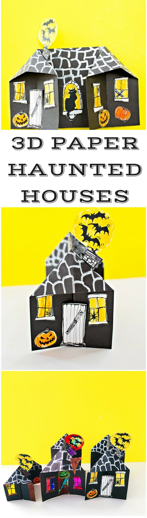 3D Spooky Paper Haunted House Craft. Cute Halloween paper craft for kids. Printable coloring templates included.